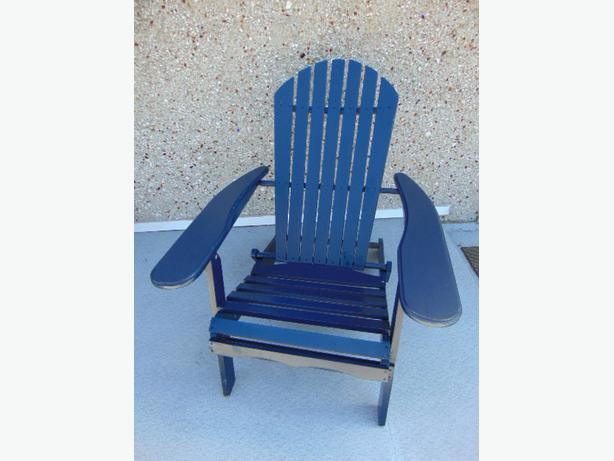 Folding Wood Adirondack Anorak Patio Deck Navy Blue Chair