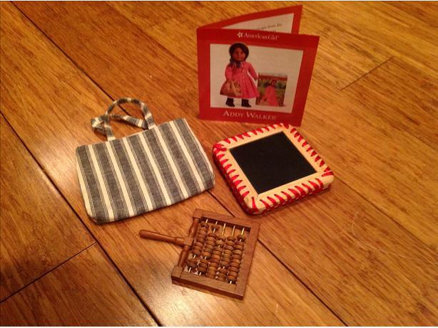American doll Addy satchel & school items