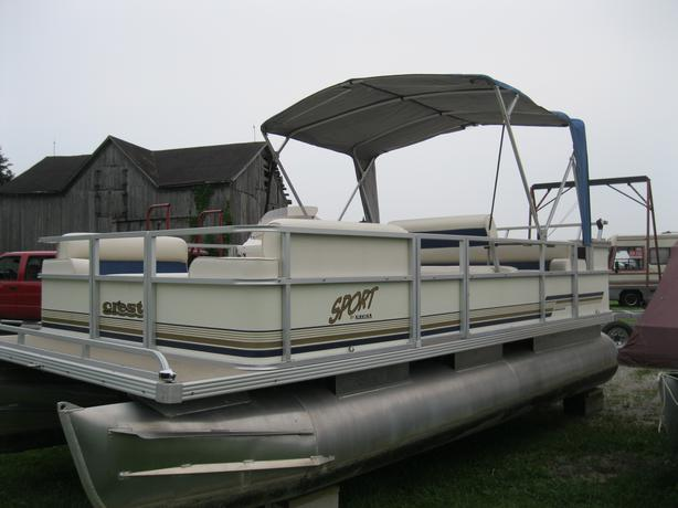 1999 Crest Sport 18 Pontoon Boat W 25 Hp Mercury Outside