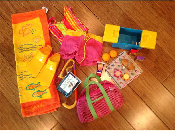 american girl swim gear, accessories & picnic goodies