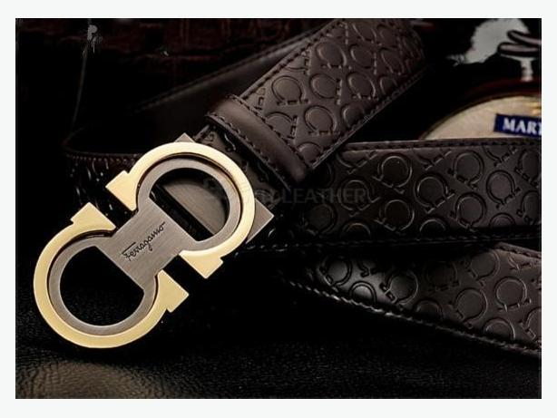 New Salvatore Ferragamo Premium Genuine Leather Belt BLACK