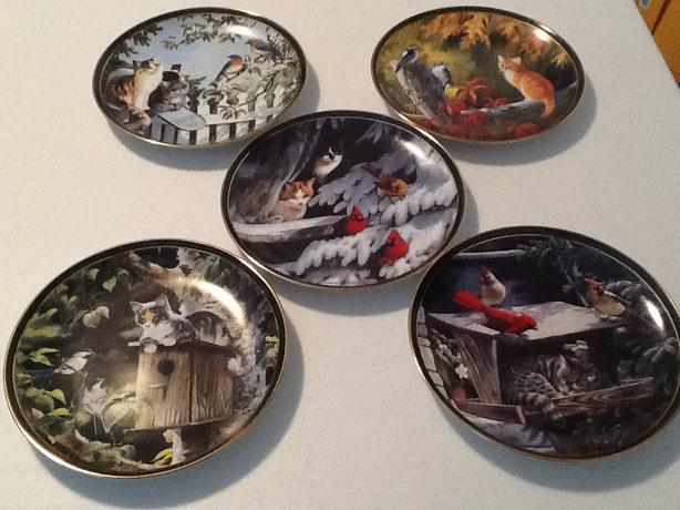 Bradford Exchange -5  Nosy Neighbors Cat/Bird Collectors Plates