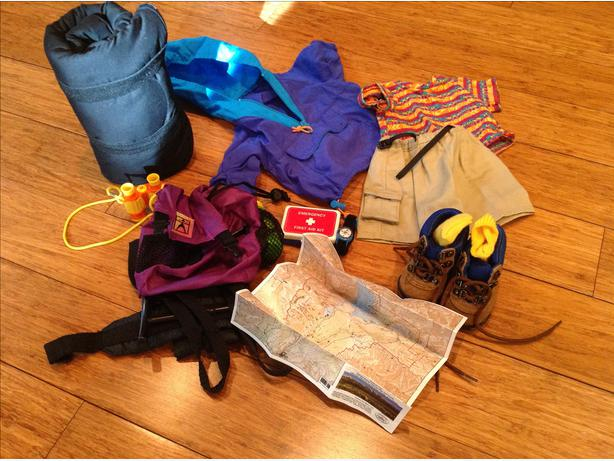 American Girl *Camping outfit, *Backpack  essentials, *Orienteering Accessories