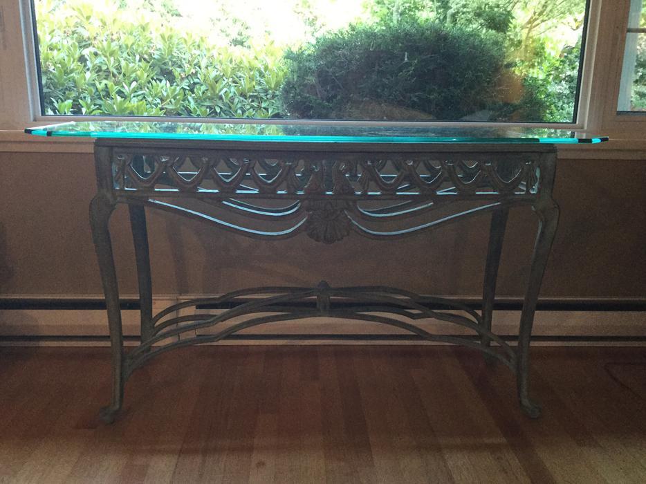 Obo glass top cast iron 3 table set oak bay victoria for Cast iron table with glass top