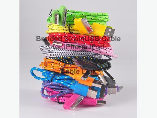 Braided durable 30 pin USB Data and Charge cable IPhone IPod