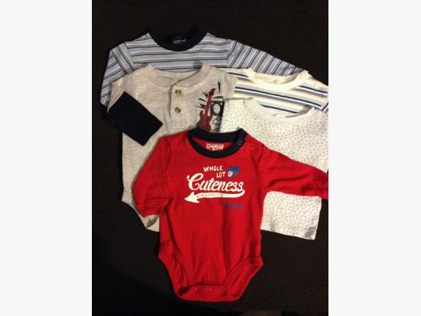 Boy 6 pce 3 month long sleeve onsies & tops