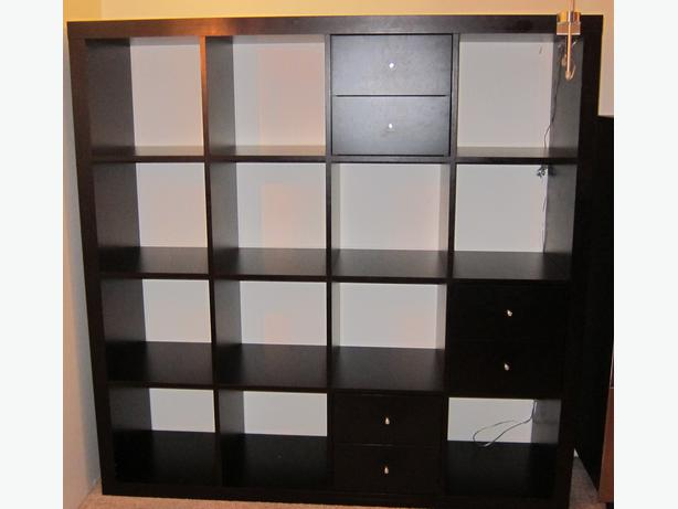 ikea expedit kallax 4x4 bookcase black brown w 6 drawers vancouver city vancouver mobile. Black Bedroom Furniture Sets. Home Design Ideas