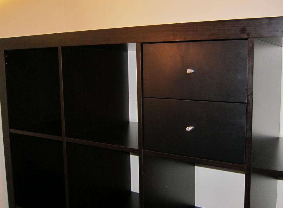 ikea expedit kallax 4x4 bookcase black brown w 6 drawers vancouver city surrey. Black Bedroom Furniture Sets. Home Design Ideas