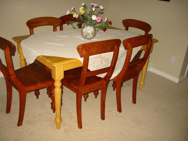 SOLID WOOD DINING SUITE: TABLE & 6 VERY HEAVY INDONESIAN