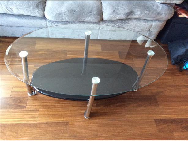 Modern glass chrome and black oval coffee table victoria city victoria Black and chrome coffee table