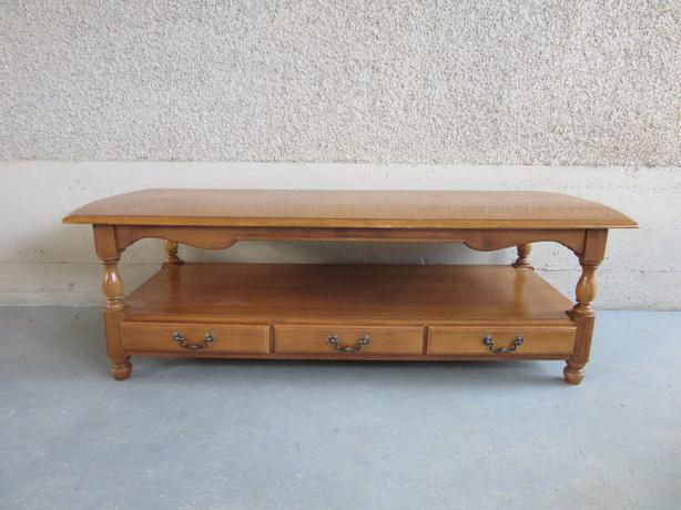 Solid vintage khoeler maple coffee table with drawers for Matching tv stand and coffee table