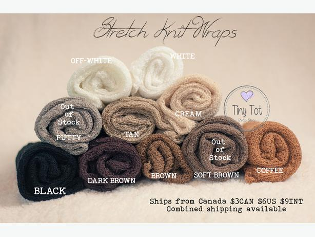 Tiny tot prop shop newborn photography props including stretch knit wraps