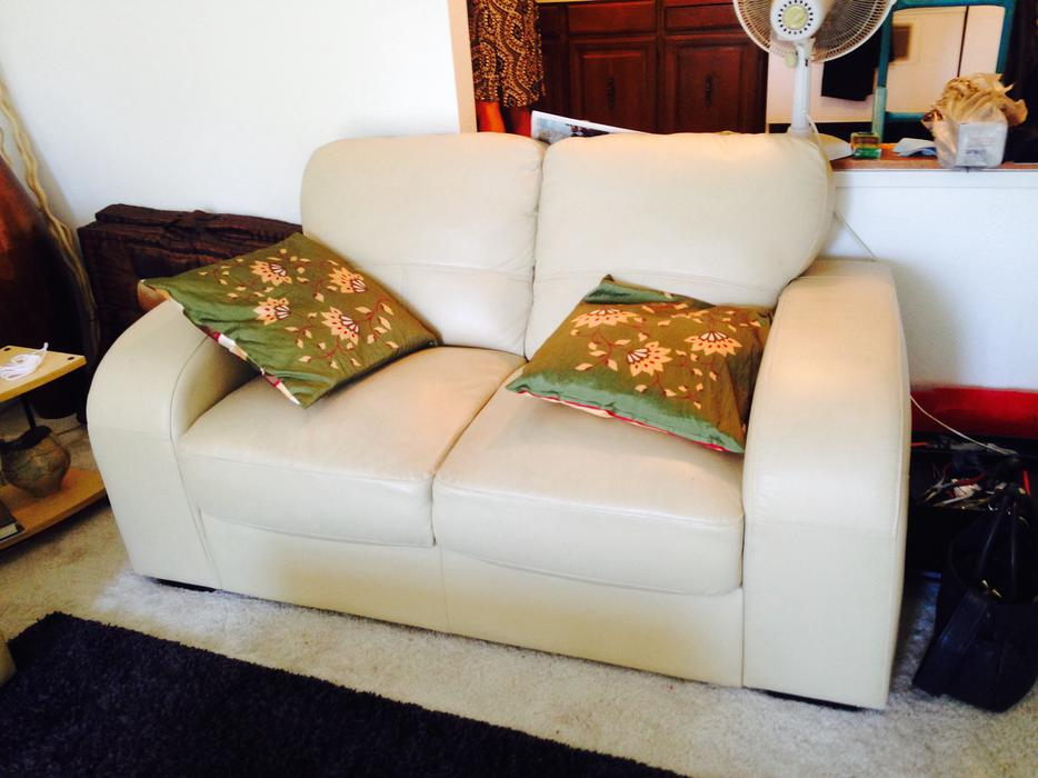 Free Cream Leather Sofa Love Seat Chair Free For