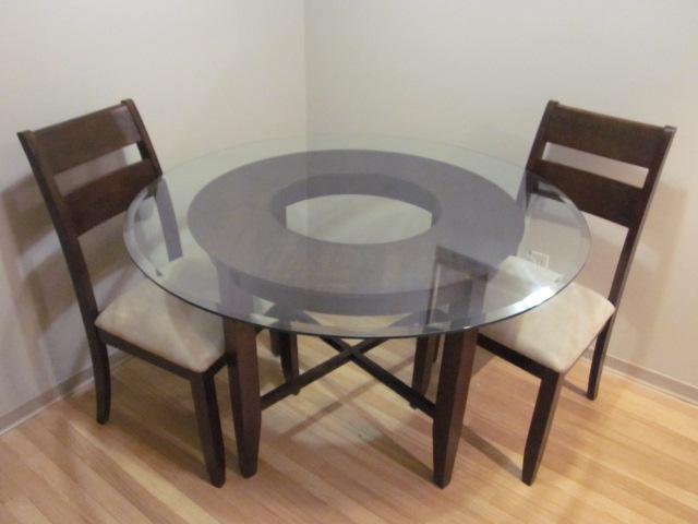 Round glass dining room table w 2 chairs saanich victoria for Dining room tables victoria