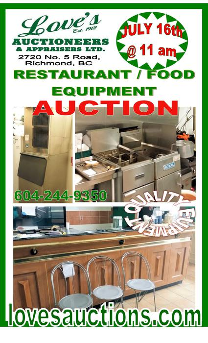 Restaurant food equipment auction love 39 s auctioneers for Equipement cuisine restaurant