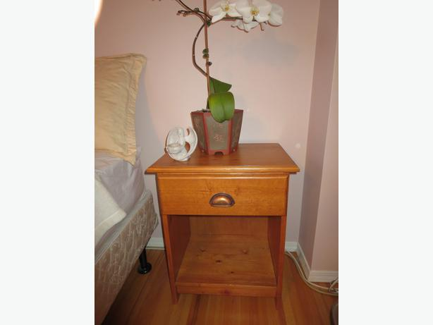 contemporary pine wood night stand side table outside