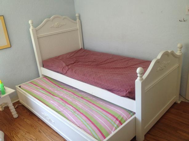 cafe kid white trundle bed solid wood