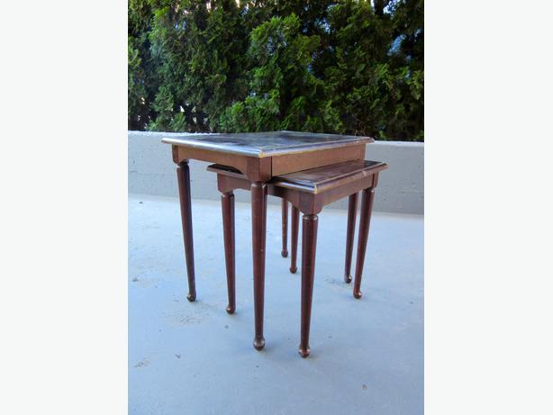 wood vintage nesting side tables for living room central nanaimo parksville qualicum beach. Black Bedroom Furniture Sets. Home Design Ideas