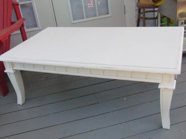 Shabby chic white distressed wood coffee table outside for Coffee tables 18 inches wide