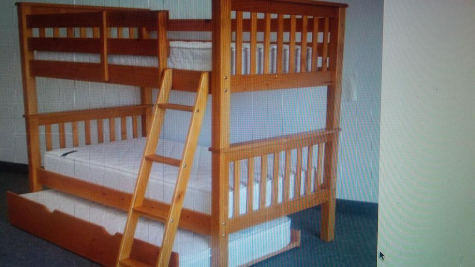 Solid Pine Single Over Double Bunk Beds With Trundle Bed