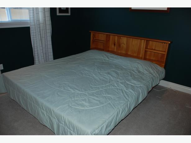Cal King Bookcase Headboard: Waterbed For Sale ... Cal-King, Bookcase Headboard, Pine
