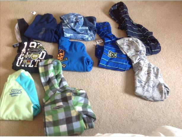 Boys name brand sweatshirts and bathing suits (size 10-12)