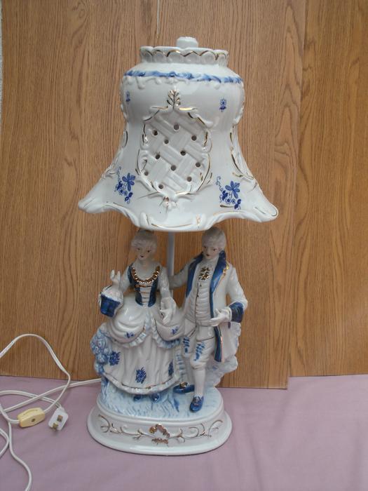 Blue White Antique Porcelain Table Lamp With Porcelain