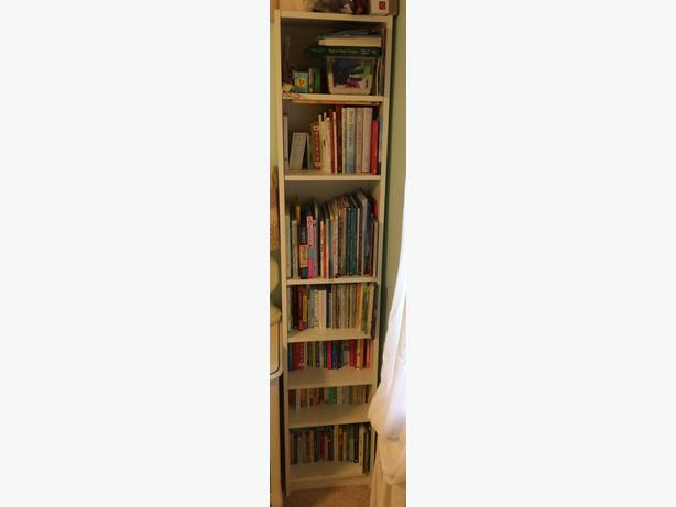 white narrow bookcase city