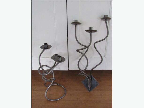 hand wrought silver metal stainless look standing wall mount candle holders outside cowichan. Black Bedroom Furniture Sets. Home Design Ideas