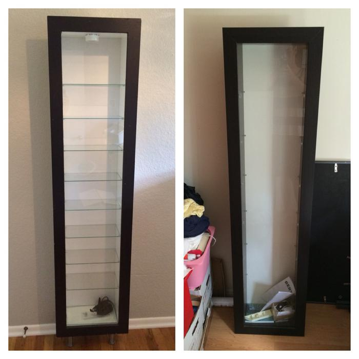 Used Kitchen Cabinets Houston: 2 IKEA Bertby Wood/glass Wall-mounted Display