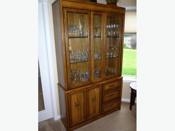 oak dining room set china cabinet table with 2 leafs side hutch 6