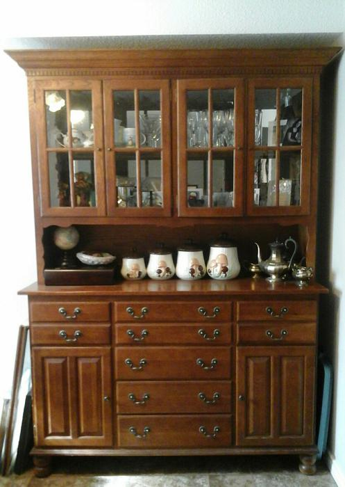 solid oak keller dining room table hutch 6 chairs