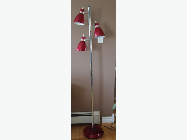 vintage mid century modern pole lamp 3 candy red. Black Bedroom Furniture Sets. Home Design Ideas
