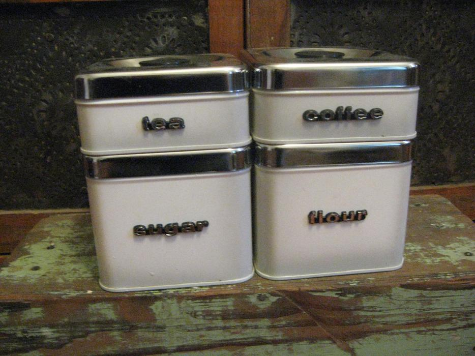 Vintage Metal Kitchen Canisters Duncan Cowichan