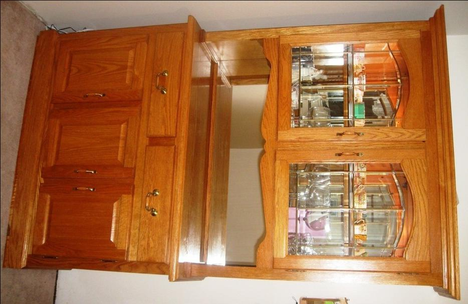 Solid Oak Dining Room Table Hutch China Cabinet Chairs SET Transcon