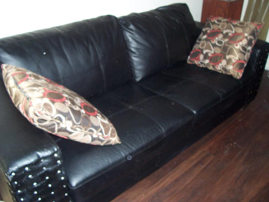 Stylish Large Black And Silver Studded Leather Sofa For