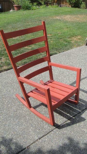 Ikea Red Rocking Chair ~ Red solid wood ikea rocking chair in excellent new