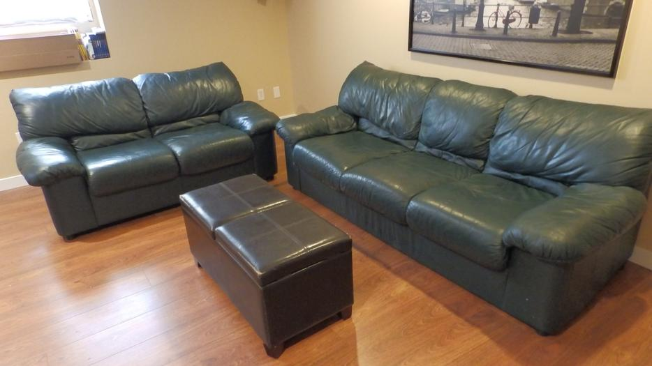 2 piece matching leather sofa and love chair forest green oak bay victoria mobile. Black Bedroom Furniture Sets. Home Design Ideas