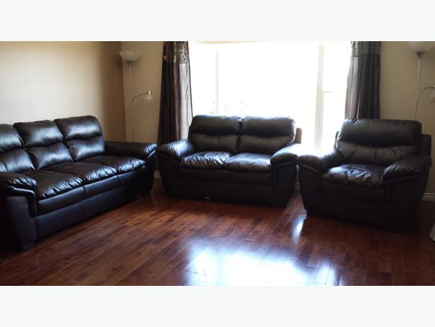 Brownish Black Leather 3 Piece Couch Love Seat Chair