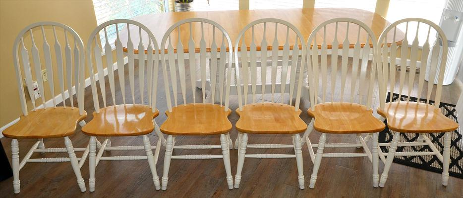 Dining solid wood table set chairs pine white