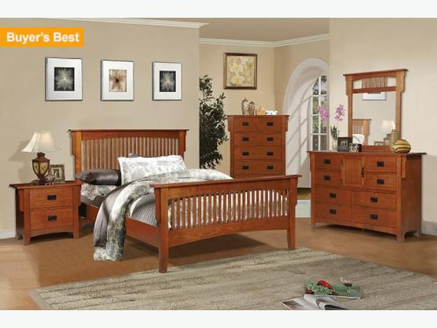 mission style oak full bedroom set in excellent shape west
