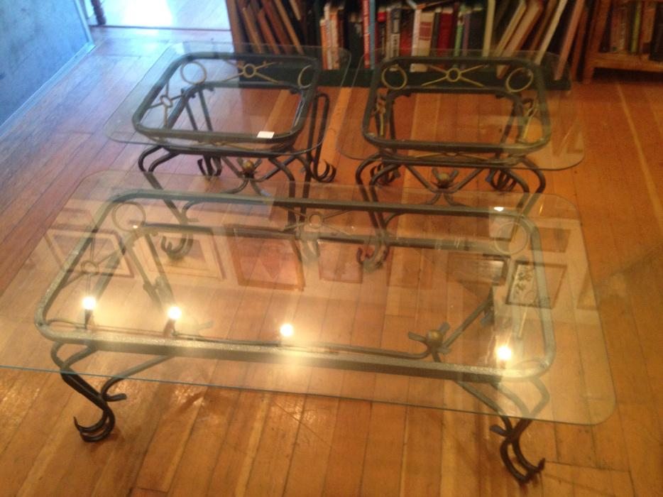 Glass Metal Coffee Table Set Chemainus Cowichan