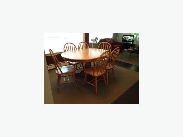 Oak Vaneer Pedestal Dining Table with 6 chairs Sooke Victoria : 48059373614 from www.usedvictoria.com size 614 x 461 jpeg 17kB