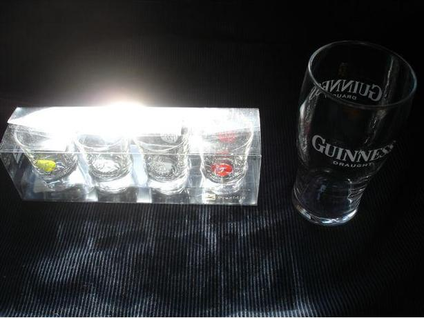 SHOT GLASSES  + GUINESS PINT GLASS, LIKE NEW  great for man cave!
