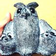 Wolf Original - Inuit Soapstone Owl Carving (Mom & 2 Baby Owls)