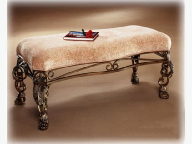 Bedroom Bench Beige upholstered wrought Iron finish settee North ...