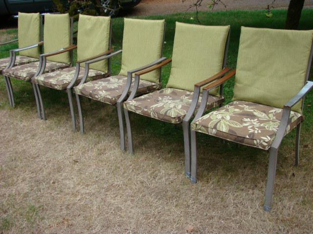 six metal frame patio chairs with cushions campbell river comox