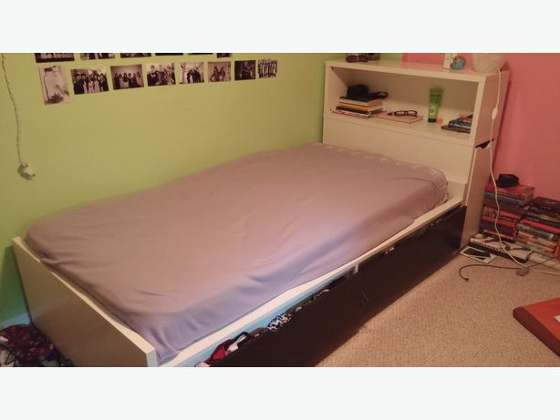 Ikea Flaxa Bed With Drawers ~ Twin Mattress & Ikea Bedframe w storage + Ikea Headboard Victoria City