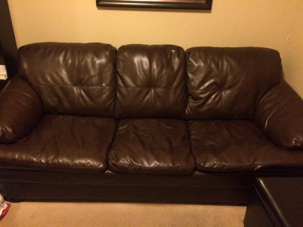 Chocolate Brown Leather Pull Out Sofa Couch West Shore