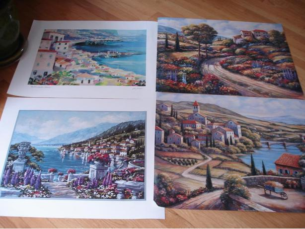 Set0f4VariousNiceScenenary Poster Prints Of TheMediterranean &TuscanyTowns